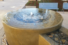 Bomanite Integral Color was paired here with a smooth trowel finish to create a decorative concrete water feature outside of the Clovis Community Medical Center, enhancing the tranquil, calm atmosphere and serving as a reminder to patients and visitors that every moment matters.