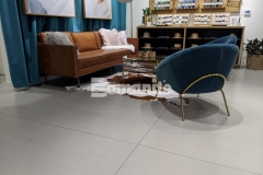This custom polished concrete flooring in the Nickel & Suede flagship store features Bomanite Modena SL that was installed in conjunction with a Bomanite penetrating sealer to provide extra resistance against stains while enhancing the refined design throughout the store.