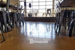The Bomanite Patene Teres Custom Polishing System was used here to create a high-gloss decorative concrete flooring that is extremely durable and complements that modern design aesthetic in the Northside Christian School and Frappe House at CrossCity Christian Church.