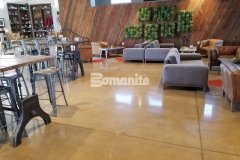 This stunning custom polished concrete was finished with the Bomanite Patene Teres Custom Polishing System and the finish offers resistance to slipping, impact, and abrasion while adding a contemporary design element to the space.