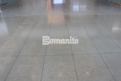 The high-gloss, salt and pepper finish that was created here was achieved by using the Bomanite VitraFlor Custom Polishing System, and the beautiful detail and warmth that radiates from the flooring is a beautiful complement to the modern aesthetic inside the Cypress Waters Business Complex.