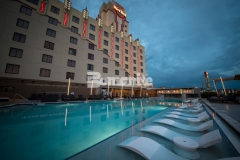 Bomanite Alloy architectural exposed concrete was installed at the Hard Rock Hotel & Casino Tulsa to add a distinctive design touch to the exterior, while providing a low-maintenance pool deck with added slip resistance and durability, making it the perfect choice for this well-known gaming hotel.