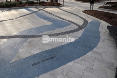 This stunning representation of the Mississippi and Missouri River confluence was created by our associate Musselman & Hall Contractors using Bomanite Revealed decorative concrete and the river of glass that was created features a durable and distinct architectural finish.