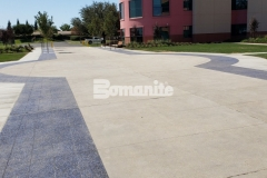 The hardscape surfaces at Valley Children's Hospital feature approximately 6,000 square feet of Bomanite Revealed decorative concrete and this durable, cost-effective option boasts a beautiful selection of decorative aggregates that complement the plantings, shrubs, and architectural detail.