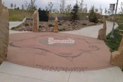 Beautiful Bomanite stamped concrete featuring the Bomacron Slate Texture pattern was installed here alongside Bomanite Sandscape Texture and Bomanite Revealed to create a hardscape surface with unique detail that complements the overall aesthetic at Centennial Center Park.