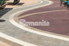 This decorative concrete decking was created using Bomanite Imprint Systems and features multiple Bomacron patterns that come together perfectly to add contrast with texture and color throughout the Castaway Island water feature in Canobie Lake Park.