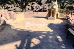 A total of 15,000 SF of Bomanite Bomacron Garden Stone imprinted concrete was installed at the El Paso Zoo with a natural English slate texture and varying stone sizes to provide patrons with a realistic replication of boulders and small pebbles from the desert rock riverbed landscape of the Chihuahuan Desert.