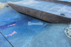 Bomanite Imprint Systems and the Bomacron 12-inch Boardwalk pattern were utilized here by Belarde Company to create this stamped concrete bridge with replicated wooden planks and the attention to detail by our colleague resulted in a beautiful architectural concrete feature at the newly designed Inspiration Playground.