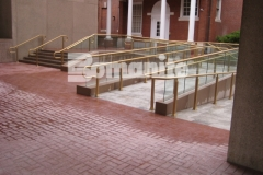 Bomanite Basketweave Brick imprinted concrete was installed here utilizing traditional Bomanite Color Hardener to create a durable hardscape surface that has beautiful coloration with excellent wear and fade resistance.