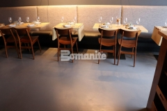 Our associate, Musselman & Hall Contractors, utilized the Bomanite Micro-Top Toppings System with Bomanite Shale Gray tint and by using steel trowels to apply the finish coat they added beautiful character that emulates the look of a hard-troweled concrete floor, which resulted in this transformative flooring surface inside the Elmwood Restaurant.