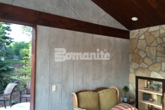 The Bomanite Bomacron Boardwalk pattern was stamped on top of a Bomanite Thin-Set overlay that was installed vertically to create these cabana walls and add an embossed effect with beautiful textural detail.