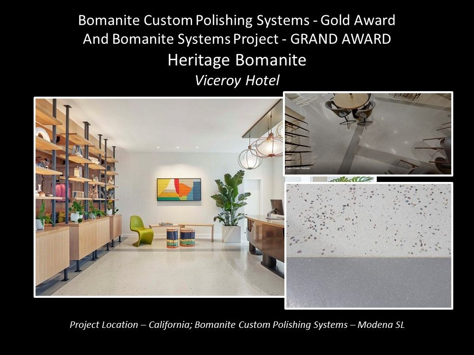 Heritage Bomanite Fresno CA installed a custom Bomanite Modena SL polished concrete floor with Brass Terrazzo Strips for the High-End Viceroy Hotel Santa Monica CA earning them a Gold Award at the Bomanite Decorative Concrete Annual Awards Program.